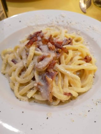 Gricia with bacon, pecorino cheese & black pepper